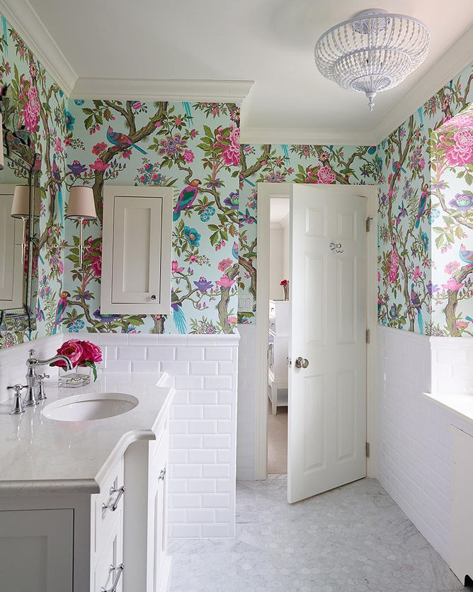 Shophouse Design - Bathroom Floral Wallpaper