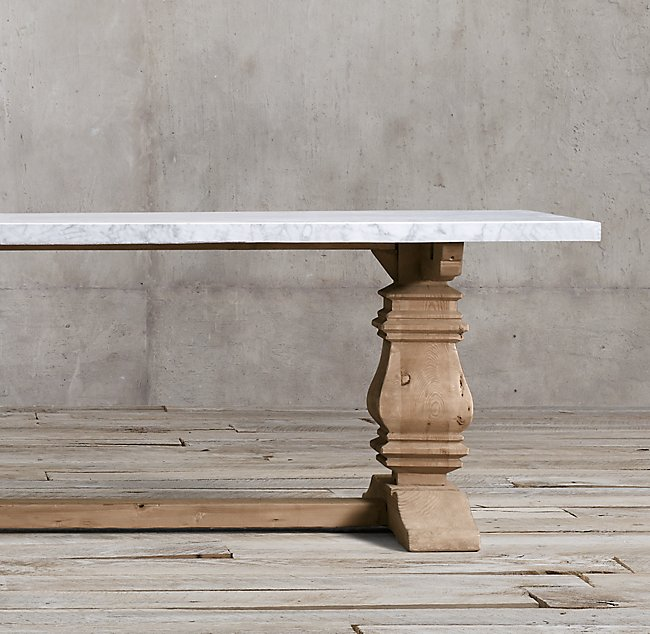 Marble Table Wood Reclaimes Restoration Hardware