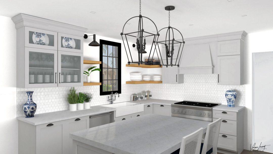 Country Kitchen Transitional Grey White Valerie Laurent Design