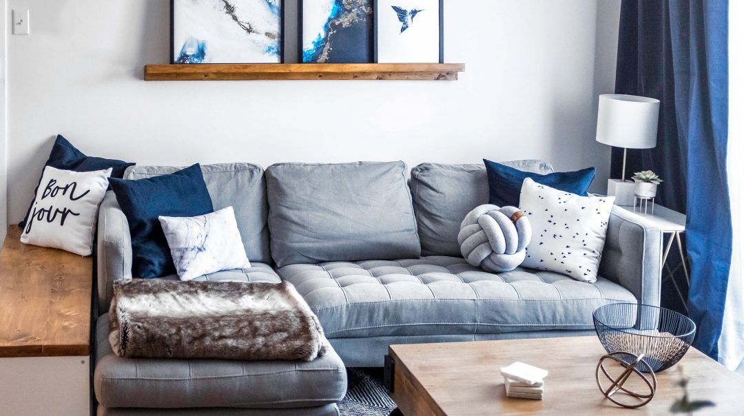 Contemporary appartment condo blue grey