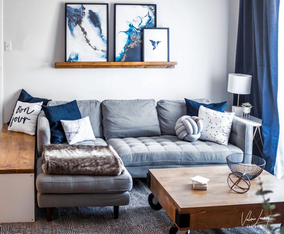 Contemporary living room navy blue grey desenio