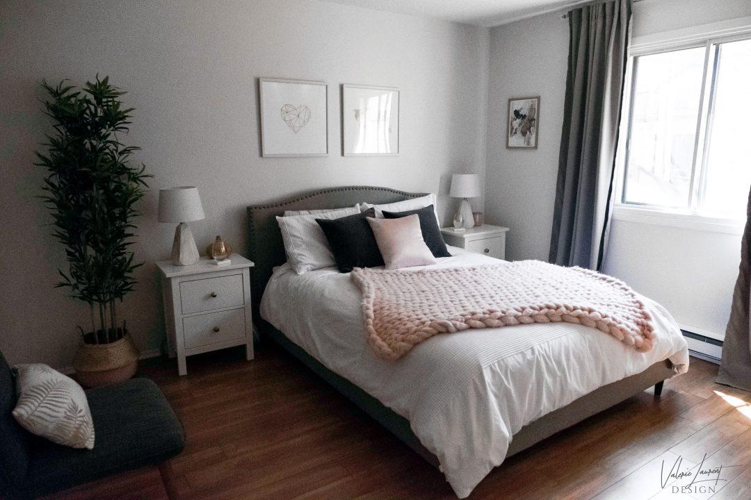 contemporary bedroom giant knit wool merino blush grey