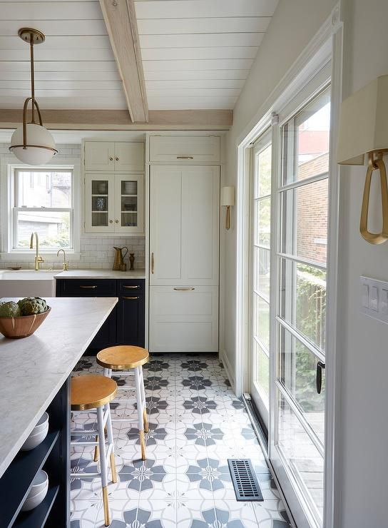 Floors navy kitchen white decor