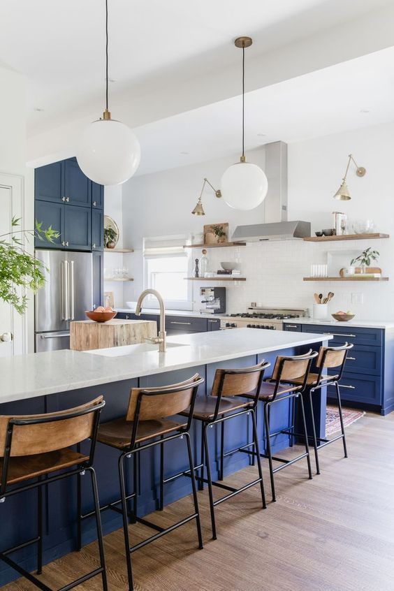 Navy kitchen white