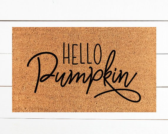 Hello pumpkin halloween door mat