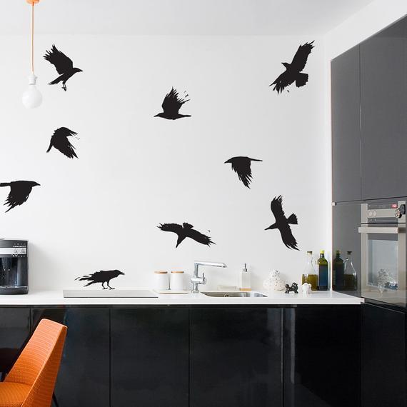corbeaux adhésif noir halloween décoration maison